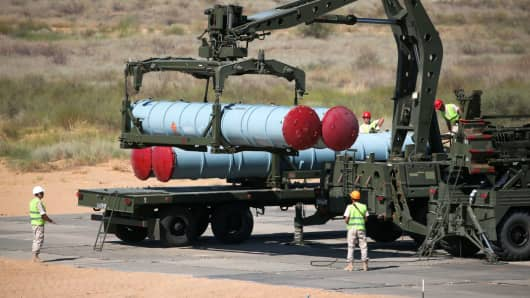 Loading surface-to-air missiles for an S-300 anti-aircraft system at the Key to the Skies contest as part of the 2017 International Army Games held by Russias Defence Ministry at Ashuluk Firing Range.