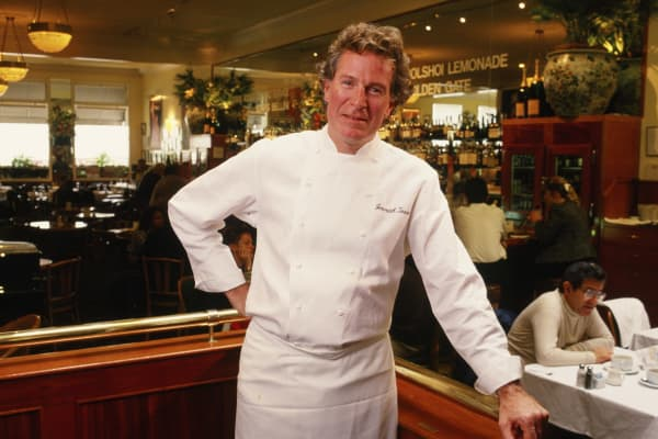 Chef and author Jeremiah Tower poses in his restaurant 'Stars' during a 1988 San Francisco, California, photo portrait session.