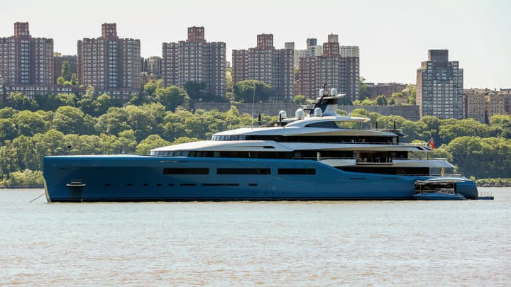 Aviva Super Yacht anchored in the Hudson River on May 24th, 2018.