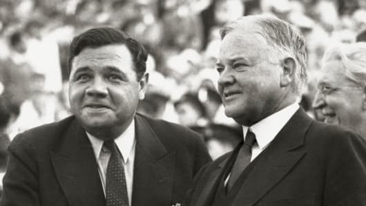 Babe Ruth with Herbert Hoover.