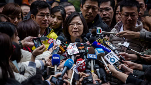 Taiwan President Tsai Ing-wen, talks to journalists after casting her ballot at a polling station on January 16, 2016 in Taipei, Taiwan.