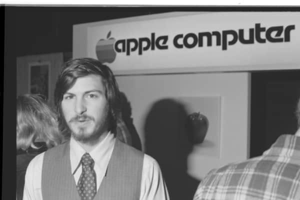 Portrait of American businessman and engineer Steve Jobs, co-founder of Apple Computer Inc, at the first West Coast Computer Faire, where the Apple II computer was debuted, in Brooks Hall, San Francisco, California, April 16th or 17th, 1977.