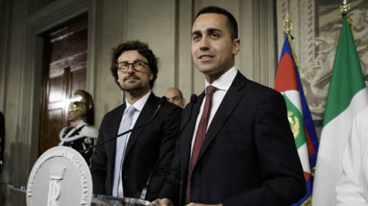 Luigi Di Maio, Five-Star Movement (M5S) leader, addresses the media after a new round of consultations, with Italian President Sergio Mattarella, for the formation of the new government at the Quirinale Palace in Rome, Italy.