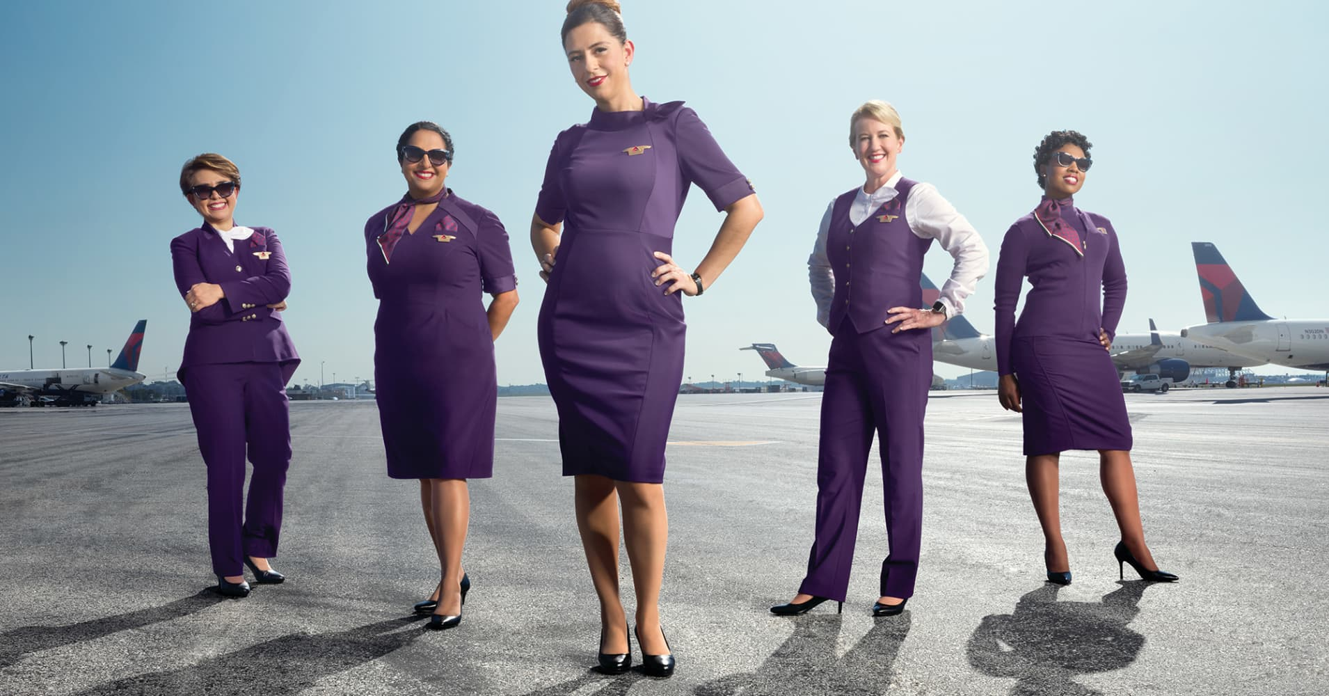 delta air lines new zac posen uniforms will go with shorter heels
