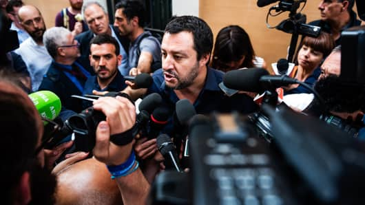 Northern League (LN) leader Matteo Salvini speaks with the press on May 28, 2018 after leaving the Chamber of Deputies in Rome, Italy.