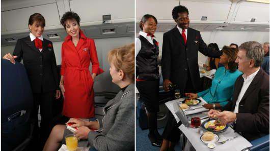Delta Airlines flight attendant uniforms circa 2006.
