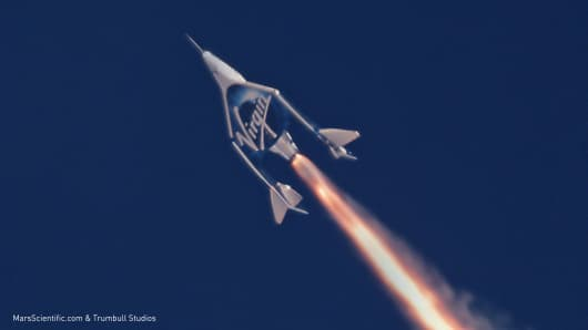 Virgin Galactic's Unity spacecraft fires its rocket engine during the second powered test flight.