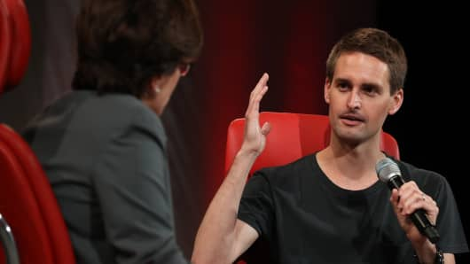 Snap co-founder and CEO Evan Spiegel speaking at the 2018 Code Conference on May 29th, 2018.
