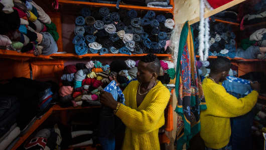 A shop at Nyamirambo Market in Rwanda's capital Kigali displays used clothing from around the world on May 10, 2018.