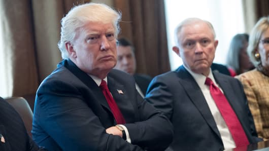 President Donald Trump (L) and Attorney General Jeff Sessions.