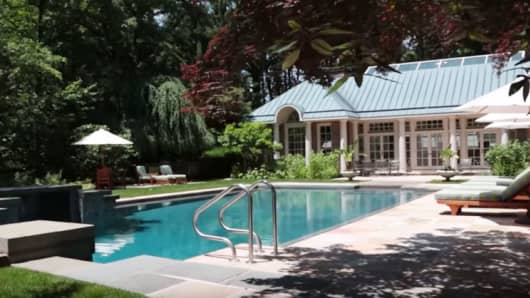 The swimming pool at the childhood home of Jacqueline Kennedy Onassis in McLean, Virginia.