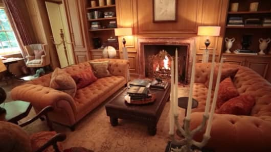 The sitting room in the childhood home of Jacqueline Kennedy Onassis in McLean, Virginia.