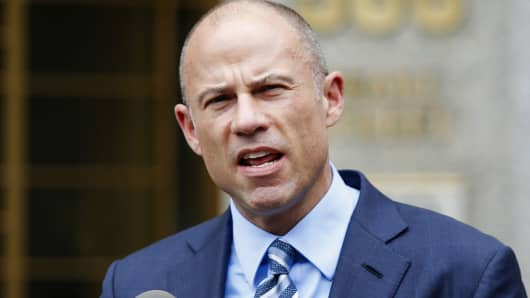 Michael Avenatti, lawyer of adult-film actress Stormy Daniels speaks to media as he exits the United States District Court Southern District of New York on May 30, 2018 in New York City.