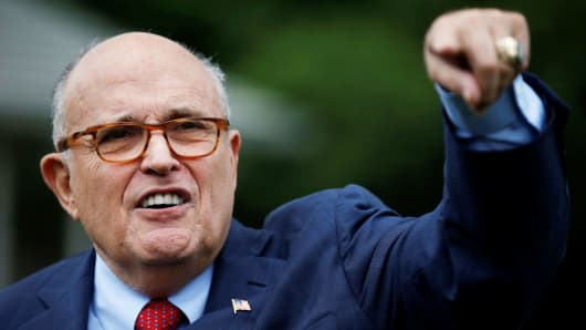 Rudy Giuliani, attorney for U.S. President Donald Trump, arrives for the White House Sports and Fitness Day event on the South Lawn of the White House in Washington, May 30, 2018.
