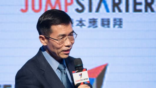 Xiaoou Tang, founder of SenseTime, speaks at the Jumpstarter start-up pitch event in Hong Kong, China, on Tuesday, Nov. 21, 2017.