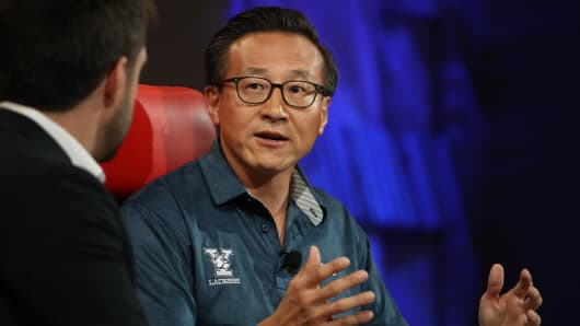 Alibaba Co-Founder and Executive Vice President Joe Tsai speaking at the 2018 Code Conference.
