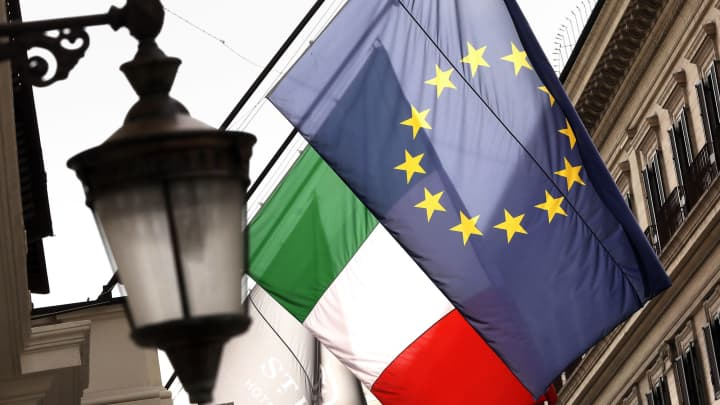 European Union (EU) and Italian national flag banners hang in central Rome on May 29, 2018 in Rome, Italy.