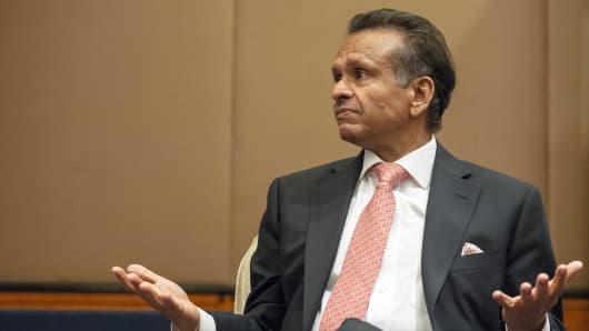 Ramesh Tainwala, chief executive officer of Samsonite International SA, speaks during an interview in Hong Kong, China