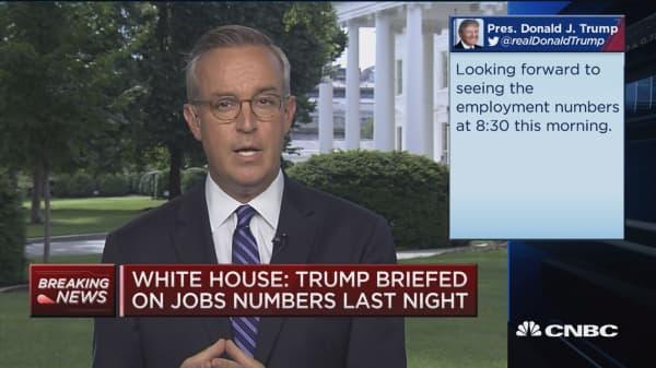 Trump briefed on jobs number last night