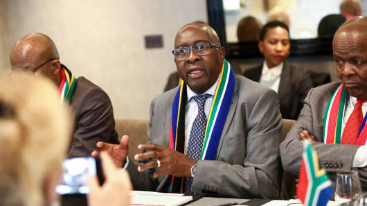 South Africa's Minister of Finance Nhlanhla Nene speaks to reporters at an investor event in London, U.K., on March 13, 2018.