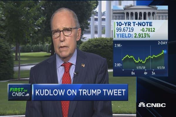 Kudlow; I don't think Trump's tweet gave any thing away