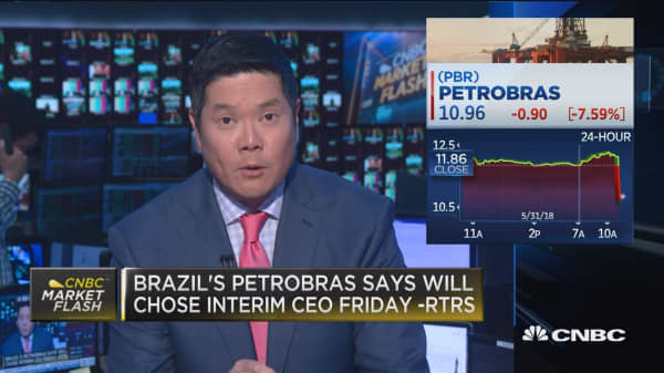 Petrobras plunges on reports of CEO Pedro Parente resignation