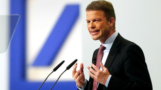 Christian Sewing, CEO of Germany's Deutsche Bank, addresses the audience during the bank's annual meeting in Frankfurt, Germany, May 24, 2018.