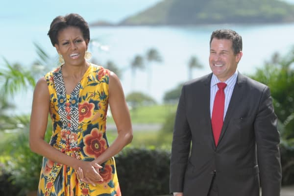 Former White House social secretary Jeremy Bernard with former first lady Michelle Obama