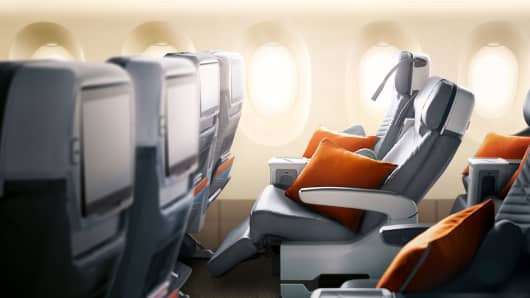 The flight will feature the airline's premium economy seats, which offer more legroom than regular coach class.