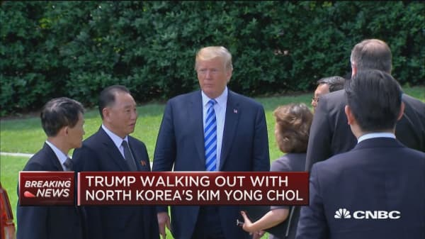 Trump walks North Korea's Kim Yong Chol out of White House