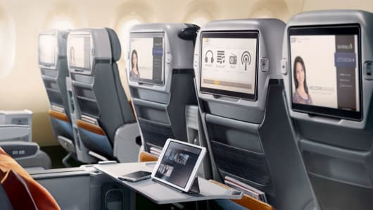 Singapore Airlines' new premium-economy seats will feature larger screens.