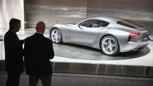 Maserati shows off their Alfieri concept car during the media preview at the North American International Auto Show (NAIAS) on January 13, 2015 in Detroit, Michigan.