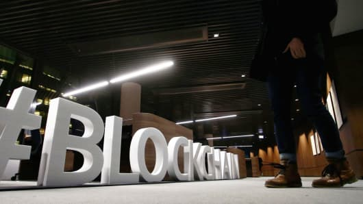 Giant letters, reading the word 'blockchain', are displayed at the blockchain centre, which aims at boosting start-ups, on February 7, 2018 in Lithuania's capital Vilnius.