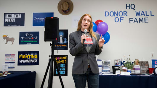 Jess Phoenix, Democrat running for California's 25th Congressional district seat in Congress, speaks during the opening of the SCV Democratic Headquarters for 2018 in Newhall, Calif., on Saturday, May 26, 2018.