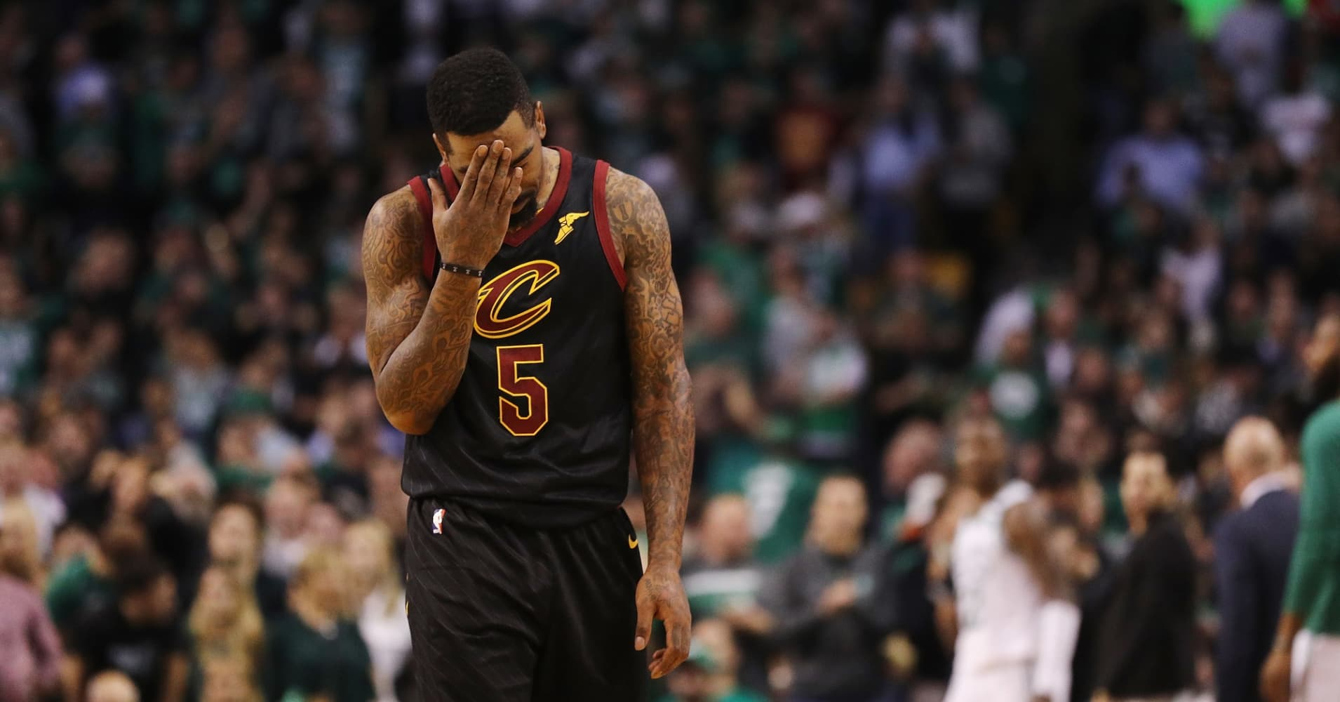 JR Smith #5 of the Cleveland Cavaliers reacts in the first half against the Boston Celtics during Game Seven of the 2018 NBA Eastern Conference Finals at TD Garden on May 27, 2018 in Boston, Massachusetts.