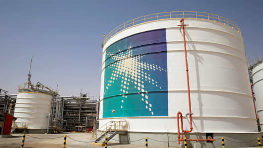 An Aramco oil tank is seen at the Production facility at Saudi Aramco's Shaybah oilfield in the Empty Quarter, Saudi Arabia.
