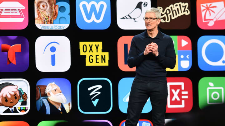 Apple CEO Tim Cook speaks at Apple's Worldwide Developer Conference (WWDC) at the San Jose Convention Center in San Jose, California on Monday, June 4, 2018.