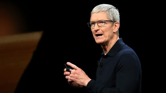 Apple CEO Tim Cook speaks during the 2018 Apple Worldwide Developer Conference (WWDC) at the San Jose Convention Center on June 4, 2018 in San Jose, California.