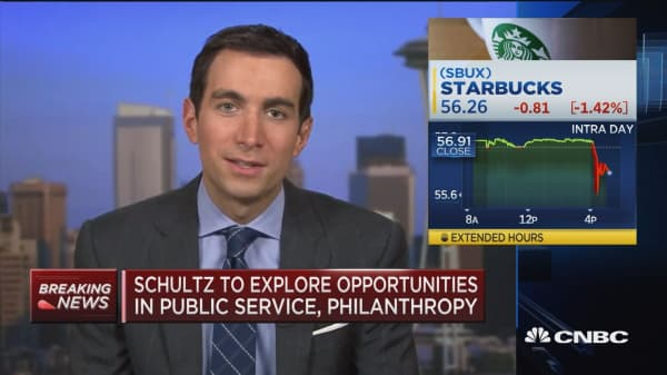 Starbucks sinking after Executive Chairman Howard Schultz steps down