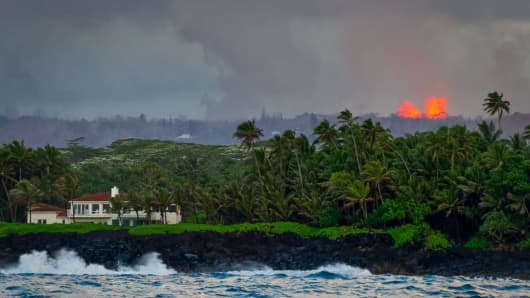Eruption seen from the Kapoho coast on the east side of the Big Island of Hawaii on May 31, 2018 in Pahoa, Hawaii.