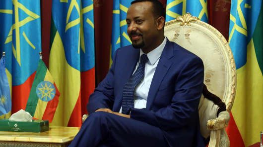 Ethiopian Prime Minister Abiy Ahmedat at the National Palace in Addis Ababa, Ethiopia, on May 25, 2018.