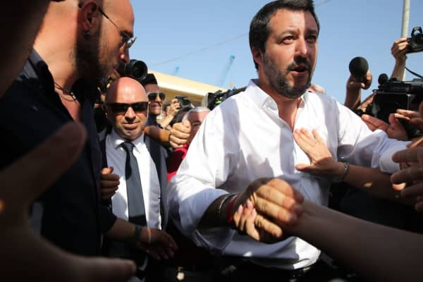 Italy's new hardline interior minister Matteo Salvini arrives at the reception centre (CPSA) in Pozzallo, Sicily, on June 3,2018.