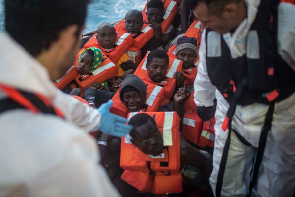 Refugees and migrants after being rescued at sea earlier in the day on June 10, 2017 off Lampedusa, Italy.