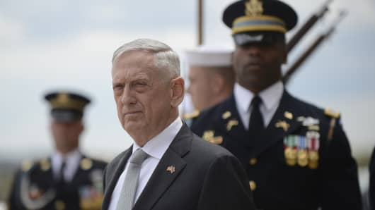 Defense Secretary James Mattis waits outside of the Pentagon in Washington, D.C., April 23, 2018.