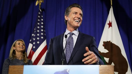 Democratic California gubernatorial candidate Lt. Gov. Gavin Newsom speaks during his primary election night gathering on June 5, 2018 in San Francisco.
