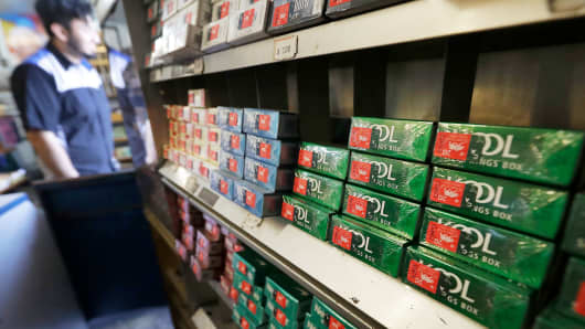 This May 17, 2018 photo shows packs of Kool menthol cigarettes displayed with other tobacco products at Ted's Market in San Francisco.