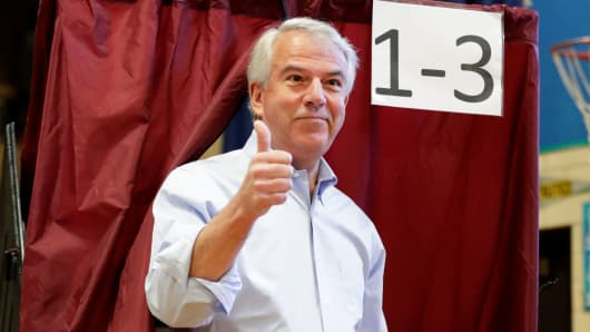 Bob Hugin, a Republican candidate running in New Jersey primary election for U.S. Senate, gestures while exiting a polling booth after casting his vote in the New Jersey Primary Election, Tuesday, June 5, 2018, at the Lincoln-Hubbard School in Summit, N.J.