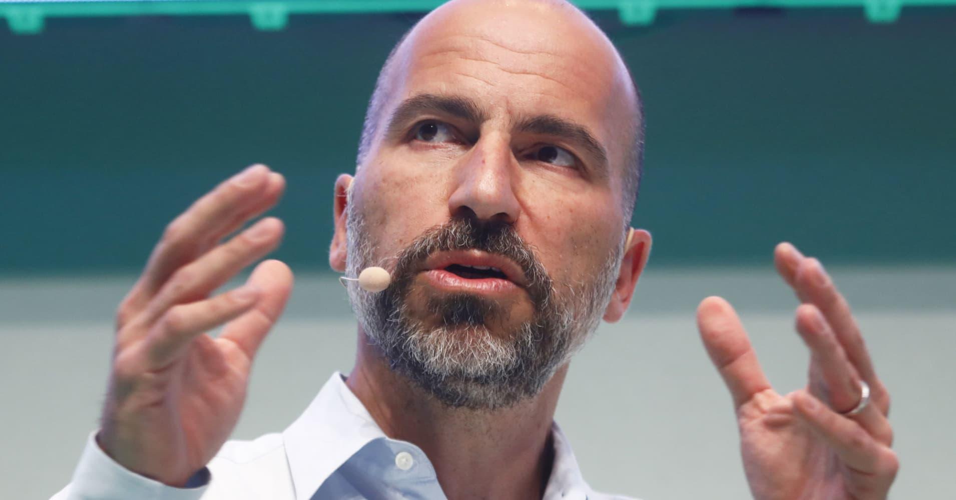 Dara Khosrowshahi, CEO of Uber, speaks at the 2018 NOAH conference on June 6, 2018 in Berlin, Germany.