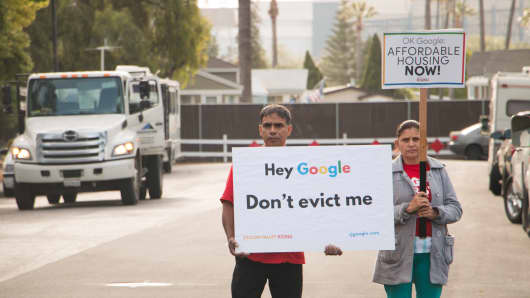 Two of the protesters that showed up to Alphabet's annual shareholder meeting on Wednesday.