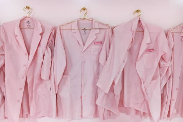 Created by Maryellis Bunn, the founder of the Museum of Ice Cream, The Pint Shop is inundated with pink, including pink lab coats for tasting. The New York City ice cream eatery and shop opened in June.